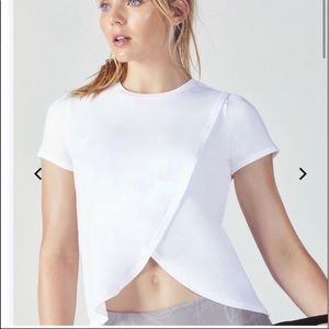 Fabletics Veena Overlap Work Out Tee - White sz M